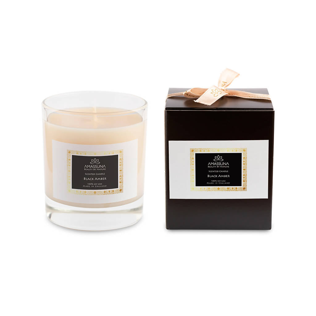 Luxury Soy Wax Scented Candle - Black Amber 220g