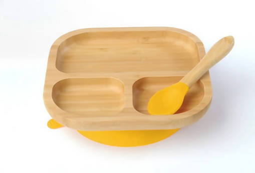 Tiny Chipmunk Baby Bamboo Divider Plate & Spoon Set With Suction - Choice of Colour Regular price