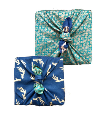FabRap Jade & Midnight Double Sided - 3 Pack (one in each size) - Reusable Gift Wrap