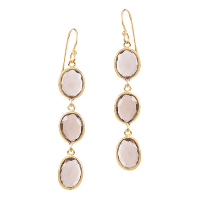 SOPHIA TRIPLE SMOKEY QUARTZ DANGLE EARRINGS