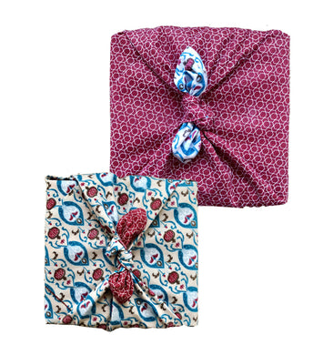 FabRap Cherry & Teal Double Sided - 3 Pack (one in each size) - Reusable Gift Wrap