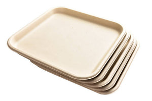 "100% Home Compostable Sugarcane Bagasse 11"" Square Plates - Pack of 25"