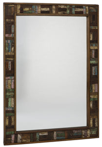 RAKA large wall mirror with wooden frame, in solid reclaimed hardwood