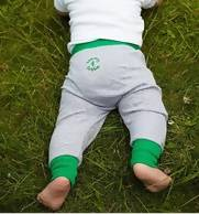 Unisex harem baby leggings - green rib