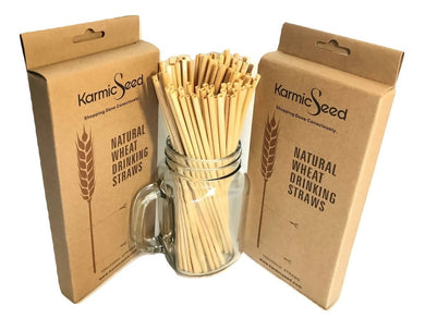 Plastic Free Eco-Friendly Natural Wheat Hay Drinking Straws (100 Straws)