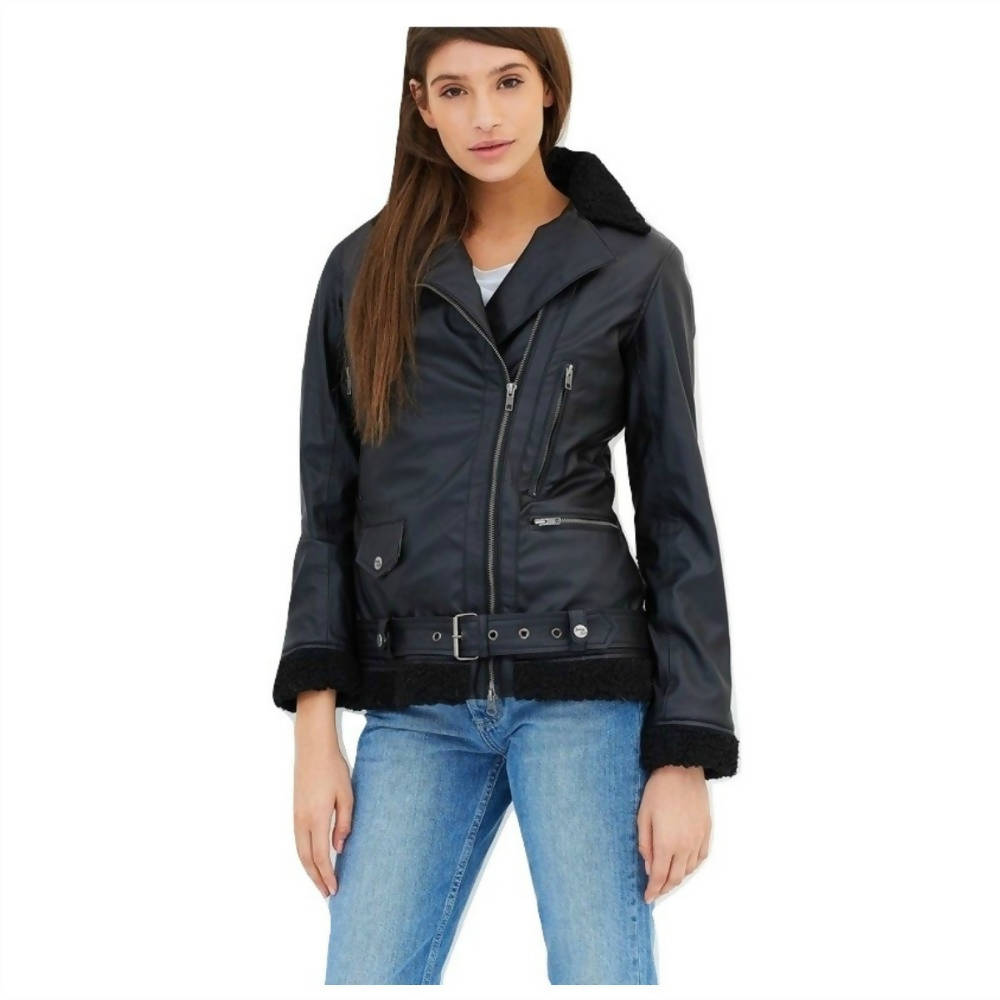 Womens Bomber Jacket Eco Leather Black Liner Kathryn