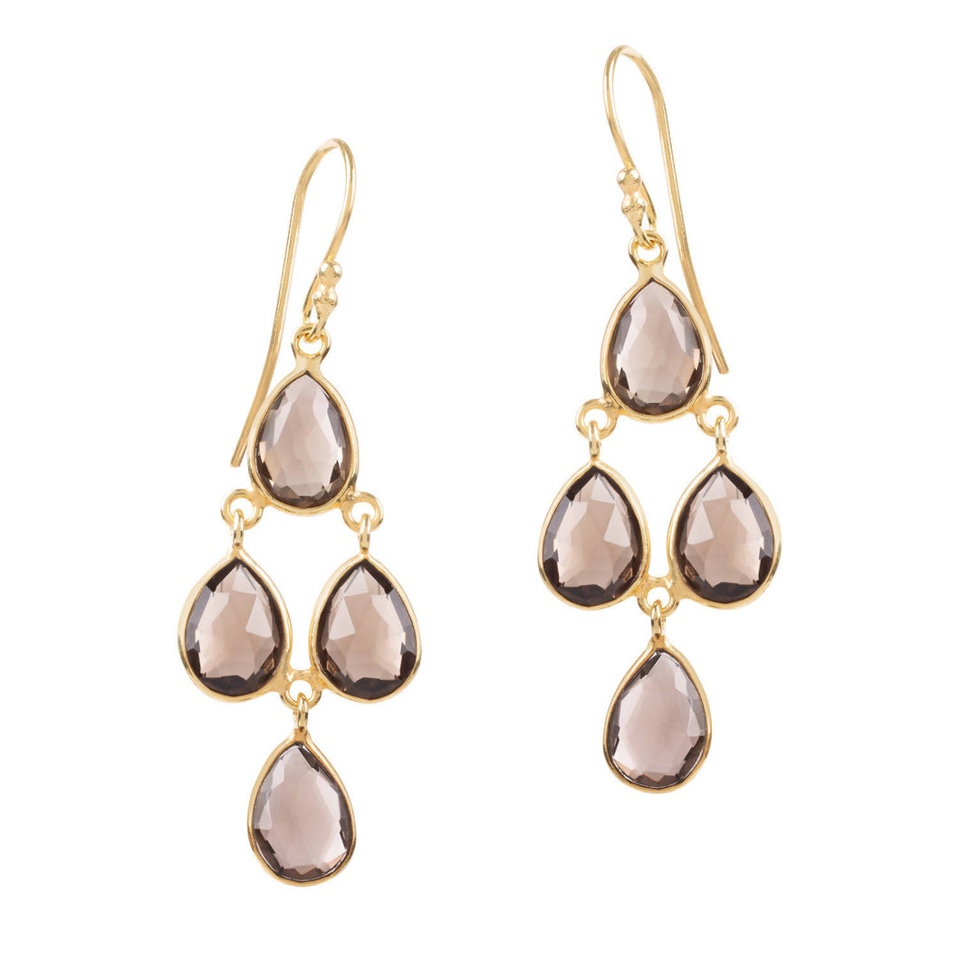 SOPHIA SMOKEY QUARTZ CHANDELIER EARRINGS