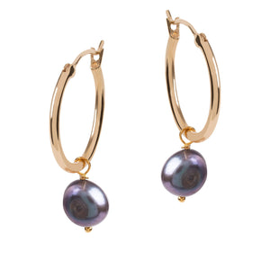 VENUS GOLD HOOP EARRINGS WITH PEARL CHARM (small)