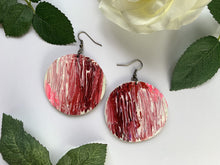 red white statement earrings, recycled bike tube earrings by Laura Zabo