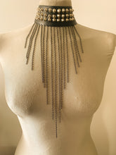Gothic Studded Choker with Metal Chain