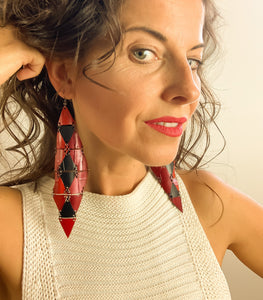recycled earrings, bike tube earrings by Laura Zabo