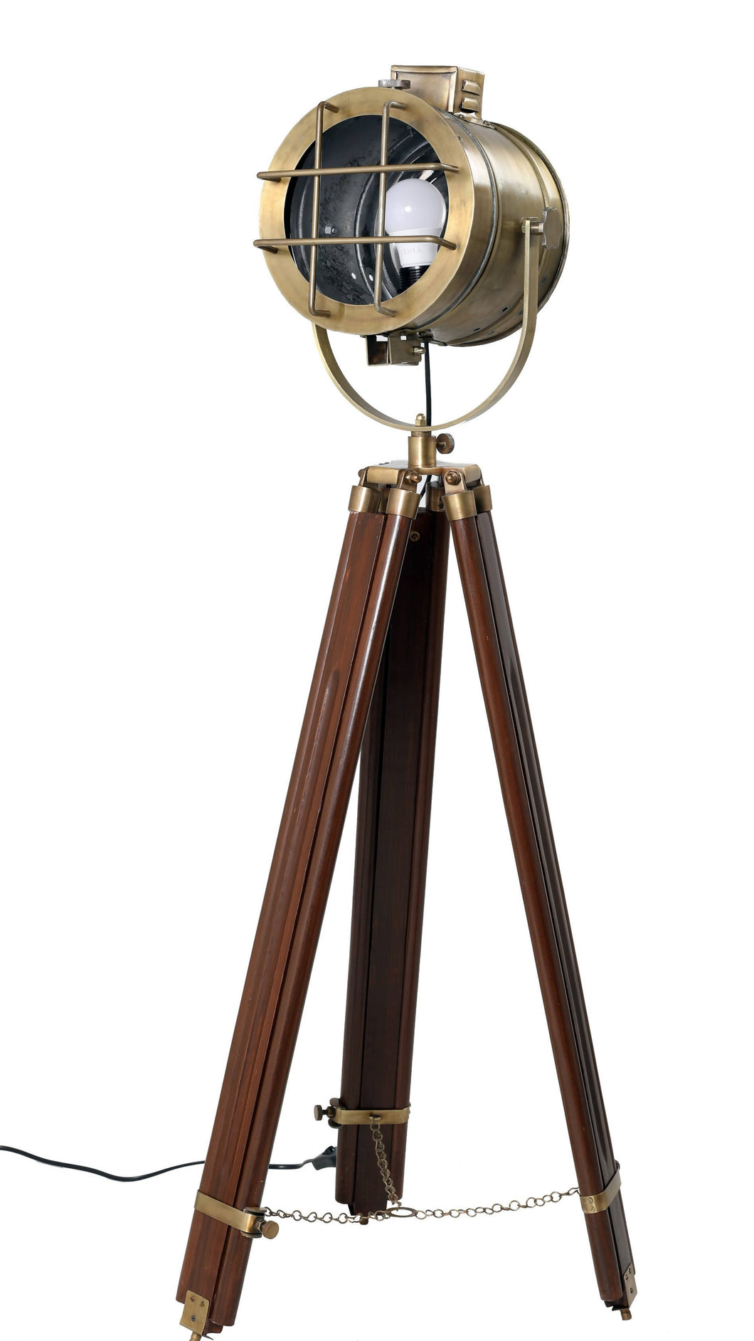 SEEK lamp | Nautical searchlight style floor lamp on tripod, adjustable height
