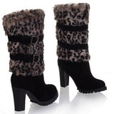 Leopard Mid Calf Heel Boots Shoes Product Details sb23black1