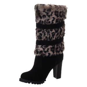 Leopard Mid Calf Heel Boots Shoes