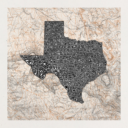 Texas County Map Screen Printed and Signed