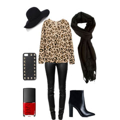 black scarf on print outfit
