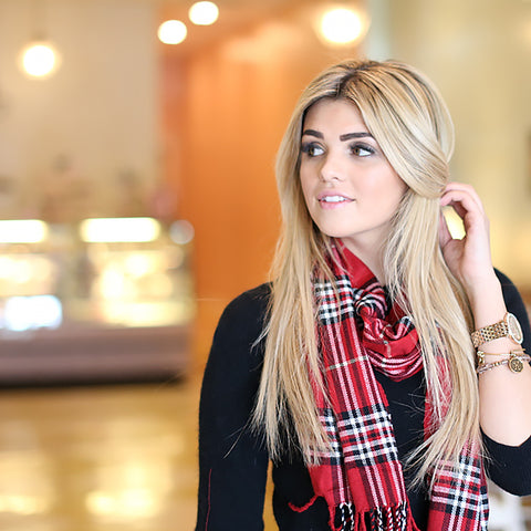girl with plaid scarf