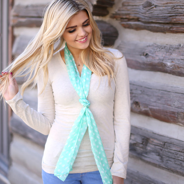 polka dot green scarf