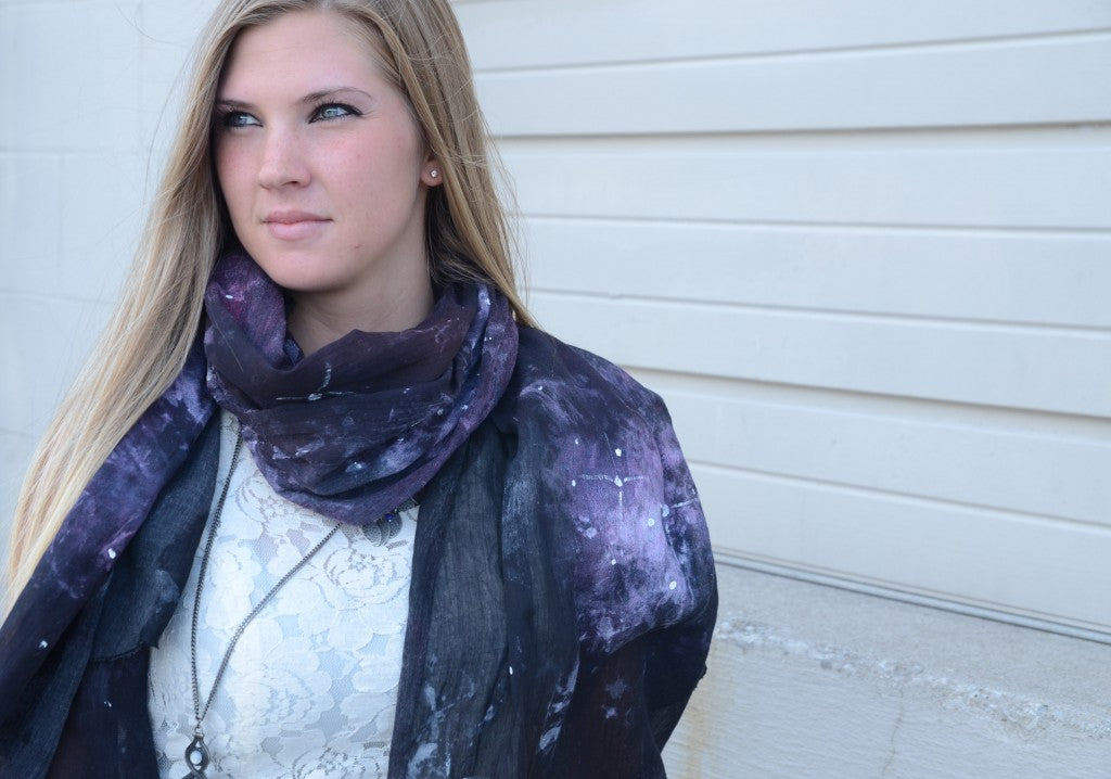 Amanda the intern modelling the DIY Galaxy Scarf