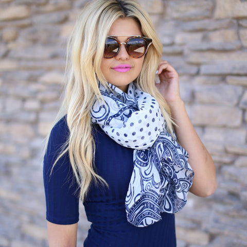 Girl With Paisley White Scarf