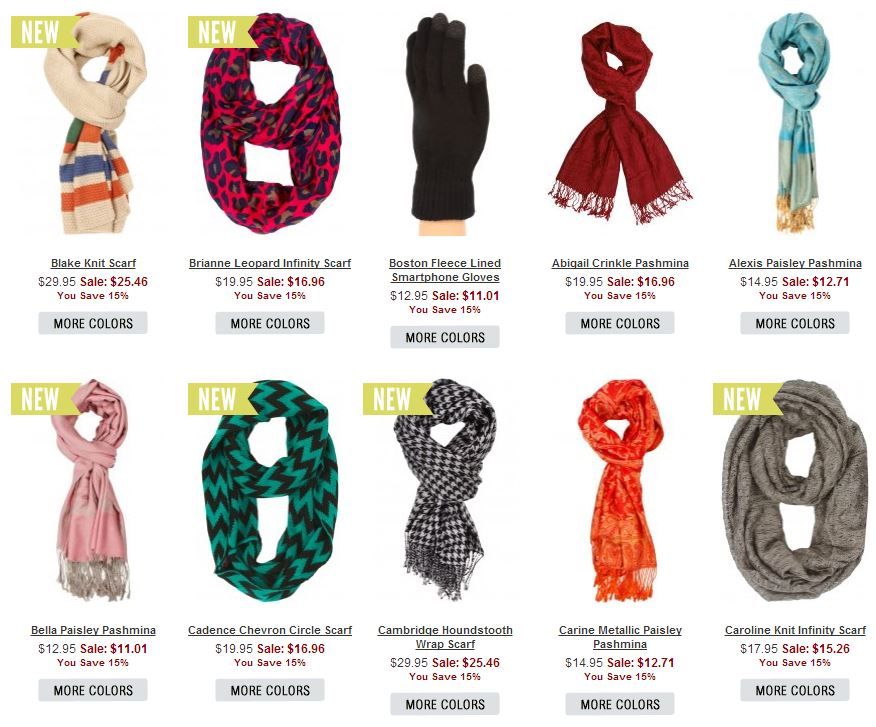 selection of assorted scarves and a glove from the the 2013 holiday collection