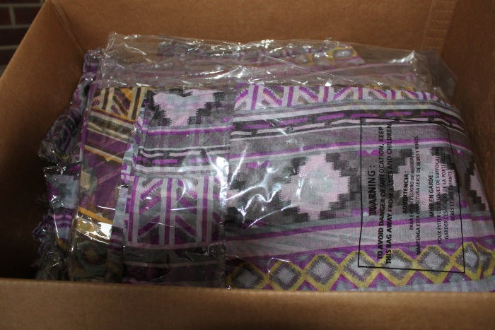 donated box of scarves