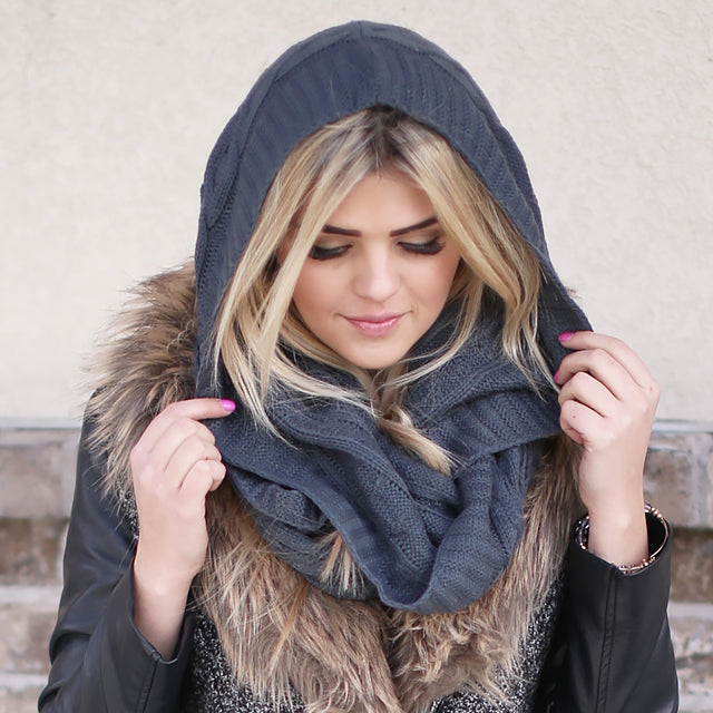 kendall hooded gray scarf