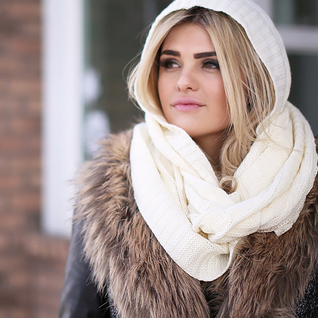 kendall hooded cream scarf