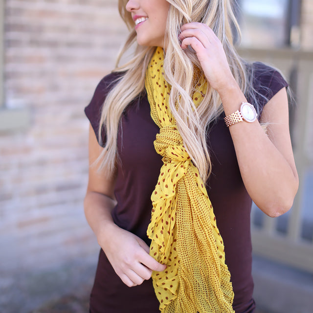 yellow dotted scarf