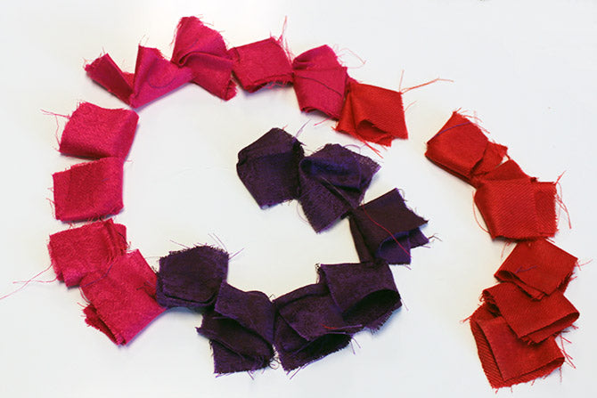 sample strand of the folded scarve squares for the Ombre Scarf Chandelier