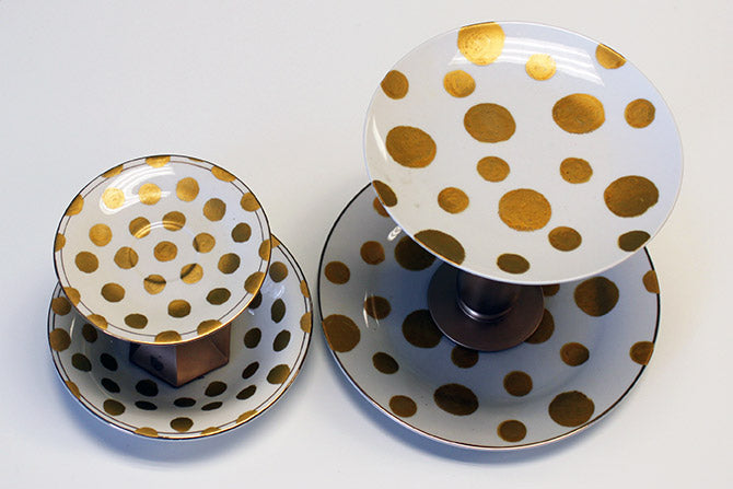 polka dot plate and bowl decoration pieces
