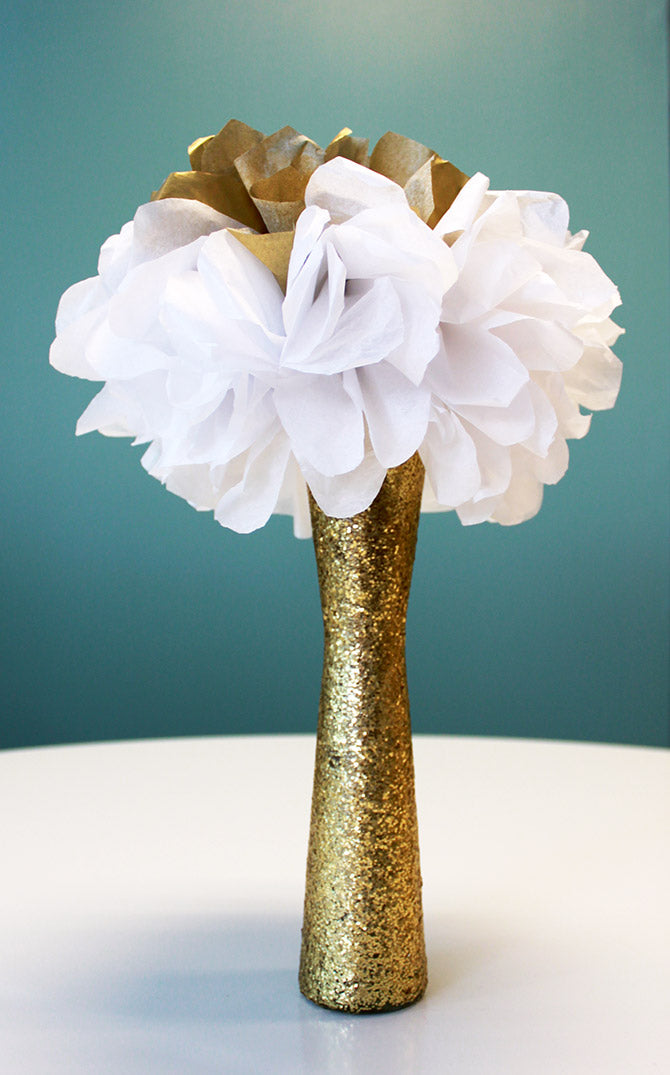 finished DIY gold glitter sparkling vase
