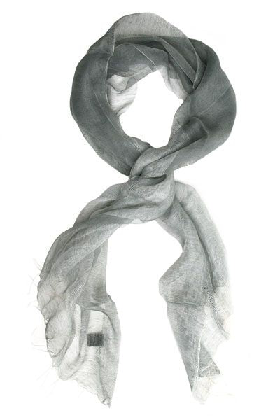 gray two-tone linen scarf