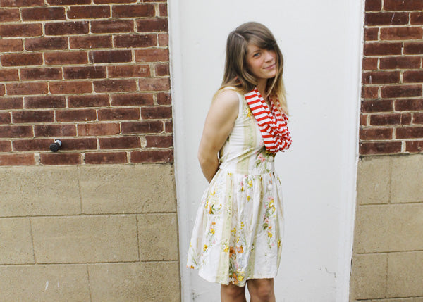 floral dress sweetie wearing a red and white striped scarf