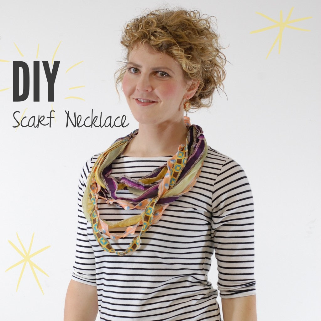 displaying the finished DIY ANTHROPOLOGIE-INSPIRED SCARF NECKLACE