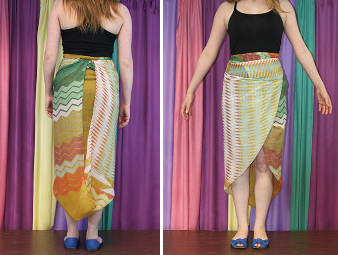 scarf high low skirt tying