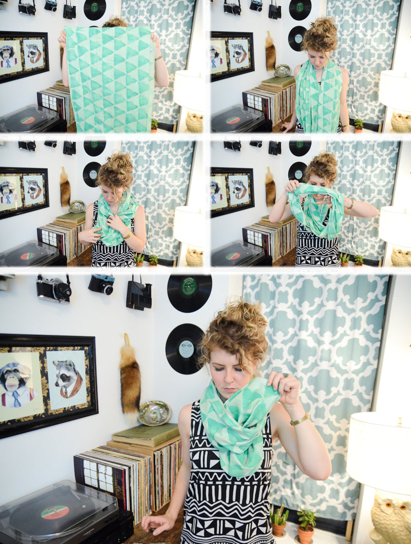 triangle print scarf tutorial collage