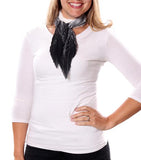 Ali Small Pleated Chiffon Scarf Black With Model