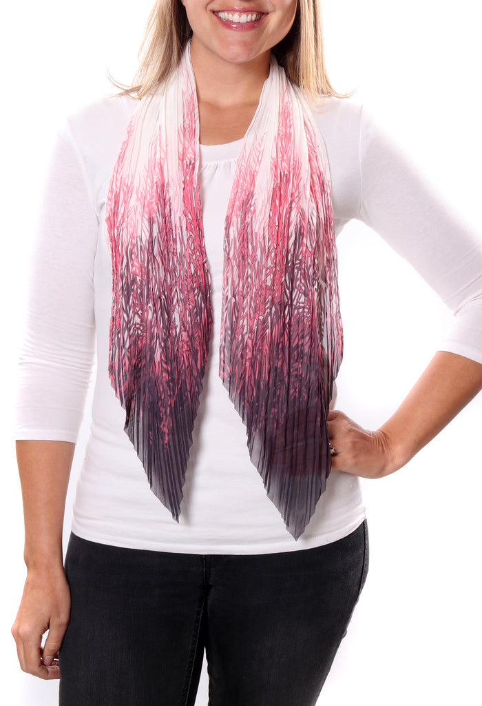 Ali Small Pleated Chiffon Scarf Coral With Model