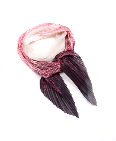 Ali Small Pleated Chiffon Scarf Coral