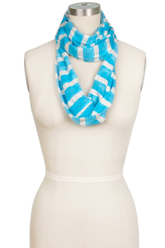 Andie Striped Loop Scarf Blue