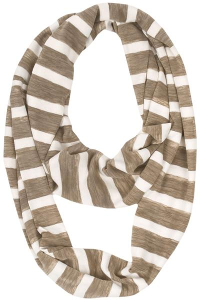 Andie Striped Loop Scarf Beige