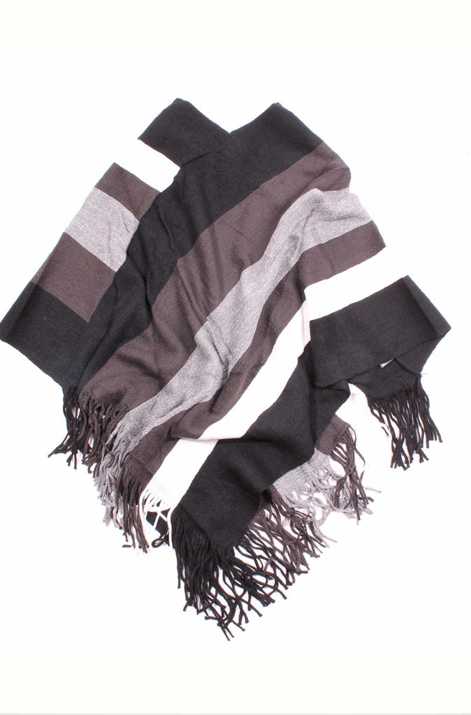 Angelica Striped Glitter Poncho