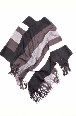 Angelica Striped Glitter Poncho Black