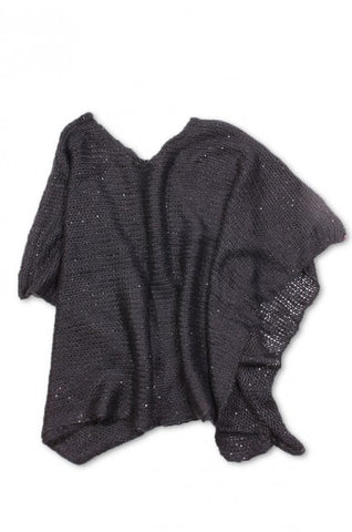 Angelina Sequined Poncho Black