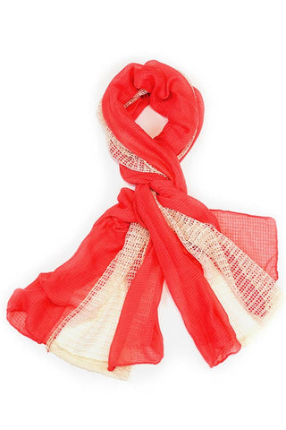 Antoinette Mesh Textured Scarf Coral