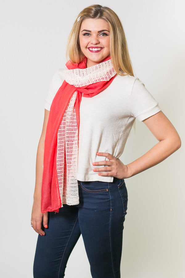 Antoinette Mesh Textured Scarf Coral With Model