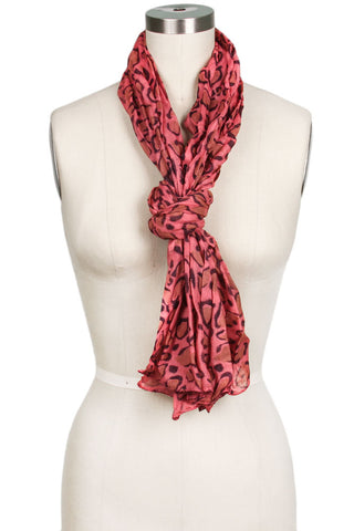 Ashlee Cotton Leopard Scarf Pink Multi