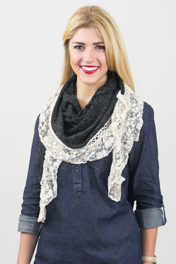 Aurelia Lace Trim Scarf Grey With Model