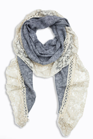 Aurelia Lace Trim Scarf Grey